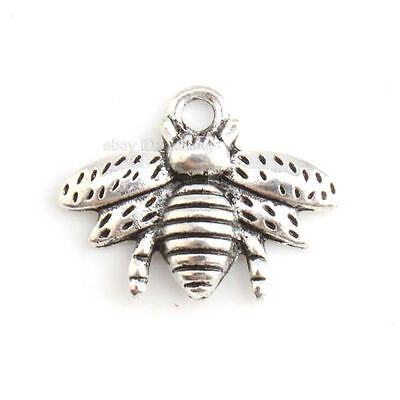 30x 143807 New Bee Animal Charms Plated Vintage Silvery Alloy Pendants Findings