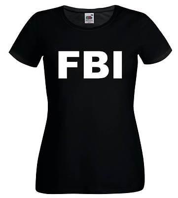 FBI Ladies T-Shirt 6-16 Black Funny Printed Fancy Dress Costume Police Joke (F1)