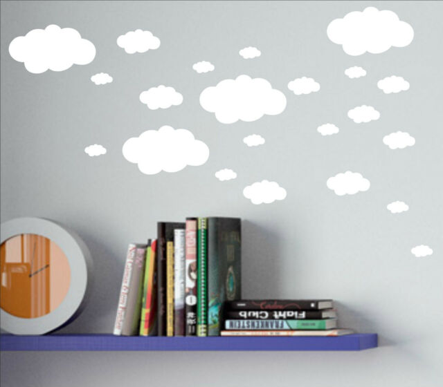 Set of 18 x CLOUDS cloud decal sticker vinyl wall art nursery kids child room