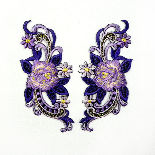 I0622 x1Pair (2pcs) Rose Purple Flower Floral Iron On Patch Embroidered Bouquet