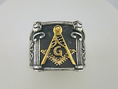Mens Two Tone Square Pillars Masonic Ring Stainless Steel