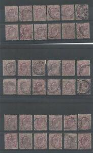 GB-KE7-1902-11-6d-CDS-USED-36-stamps-cv-720-Lot-2
