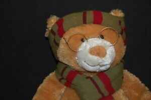 TEDDY BEAR GLASSES HAT SCARF 15 PLUSH MARY MEYER 2007 STUFFED ANIMAL LOVEY TOY
