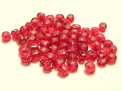 30g x 6/0 Orange Silver Lined Glass Seed Beads Appox 4mm Jewellery Craft  L116