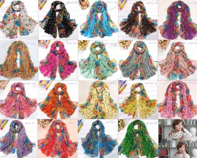 Fashion Long Cotton Voile Floral Shawl Scarf Wrap Stole 19 Colors