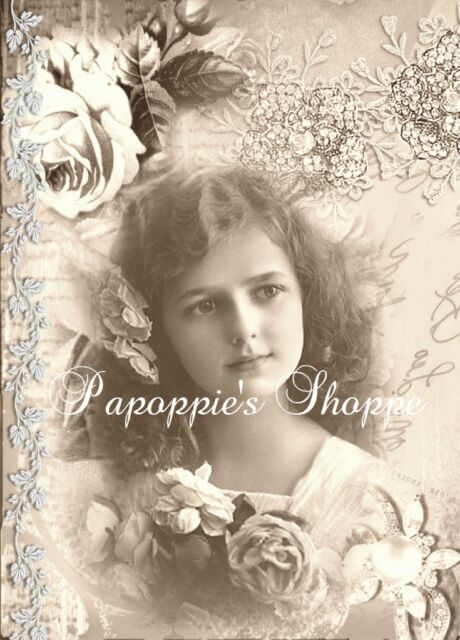 Elegant Victorian Girl Fabric Block Jewels Postcard Roses Altered Art