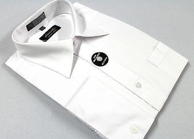Mens French Cuff Dress Shirt Plain White Wrinkle-Free Cotton Blend Modern Fit