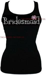 New-Junior-039-s-BRIDESMAID-Rhinestone-TANK-TOP-SHIRT-S-3XL-Bride-Wedding-Gift