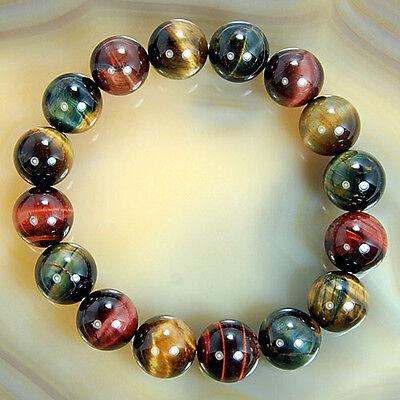 Natural Colorful Tiger Eye Gemstone Bracelet 12mm 14mm 16mm 18mm Pick Size