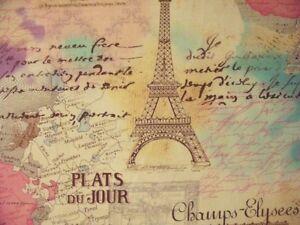 VINTAGE-PARIS-EIFFEL-TOWER-MAP-SCRIBE-PINKS-COTTON-FABRIC-12-Inch-Scrap-Piece