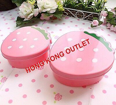 Strawberry Bento Lunch Snack Box Case Set 2Pcs  Pink  M49a