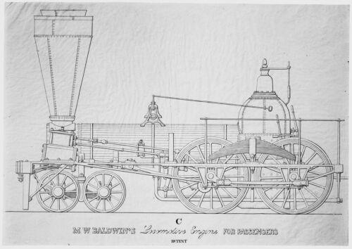 M.W. Baldwin Locomotive Builders Plan C  -Train, Railroad, Locomotive Prints