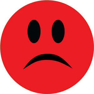 Unhappy Smiley Face Stickers Red X 6 Novelty Humorous