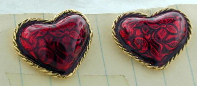 Vintage Gold Tone Heart Earrings by AVON