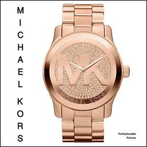 NEW-2012-MICHAEL-KORS-ROSE-GOLD-CRYSTAL-MK-LOGO-DIAL-MK5661-WOMEN-039-S-RUNWAY-WATCH