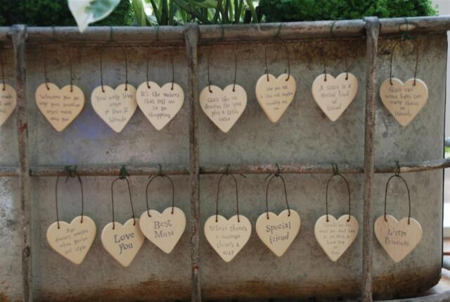 Little wooden heart signs, East of India Gift Tags, friendship fun keepsakes