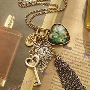 Vintage-Love-Heart-Peacock-Leaf-Key-Tassel-Sweater-Long-Chain-Pendant-Necklace