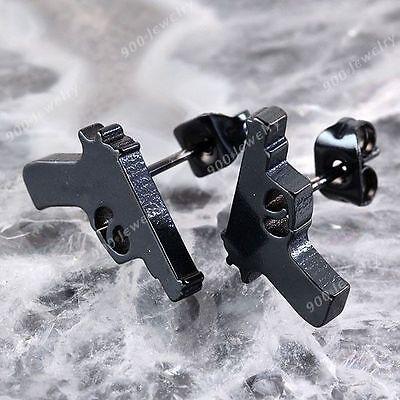 1 Pair Stainless Ear Nail Stud Black Gun Earrings Punk Rock Unisex