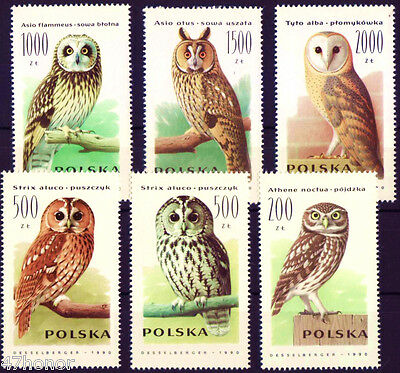 Poland 1990 ,  Bird - Different  Owls , Stamp set MNH