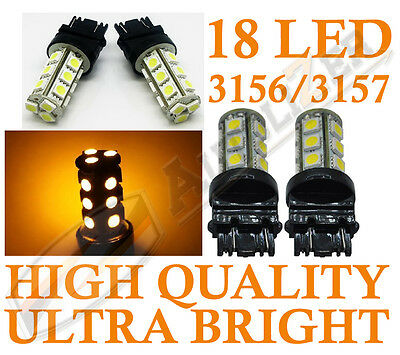Fits CHEVY 2x AMBER LED Daytime Running Light Bulbs 18-SMD 3156 3157 3757 4114