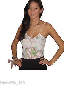 New-Vintage-Mary-Quant-Floral-Lace-Green-Print-Leotard-Body-Top