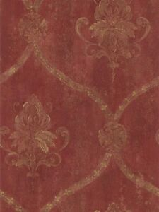 Wallpaper-French-Red-Faux-Large-Damask-with-Gold