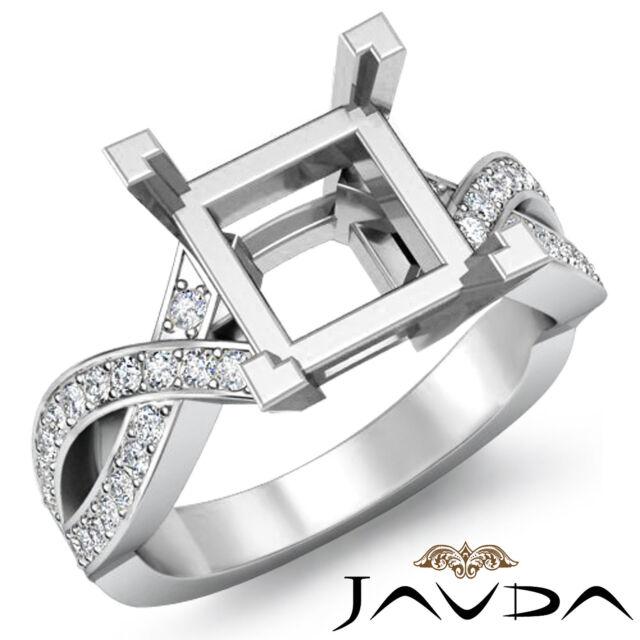 Diamond Engagement Cross Shank Beautiful Ring Platinum Princess Semi Mount 0.5Ct