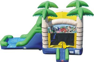 Inflatable Bounce House Water Slide Combo Tropical Palm Trees FREE SHIPPING