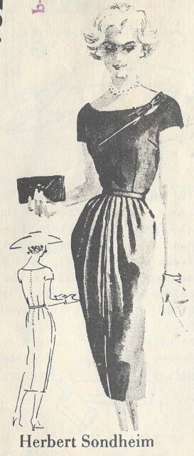"1950s Vintage Sewing Pattern DRESS B40"" (R95) By 'Herbert Sondheim'"