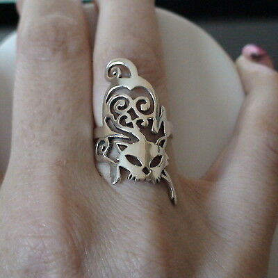Creeping Cat Ring - 925 Sterling Silver Cocktail Right Hand Cat Jewelry *NEW*