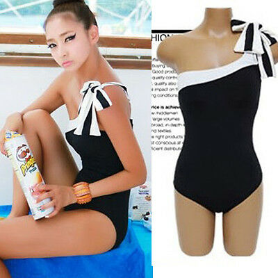 Womens Girls One Piece Swimsuits Swimwear Black One shoulder Swimming Suits