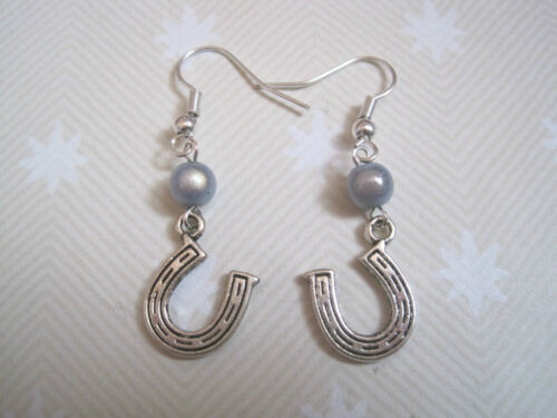 *LUCKY HORSESHOE* Miracle Bead Drop Earrings SP Choice Blue Pink Red Aqua Gift