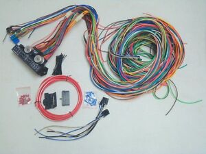 12v-24-Circuit-15-Fuse-Street-Hot-Rat-Rod-Wiring-Color-Harness-Wire-Kit-COMPLETE