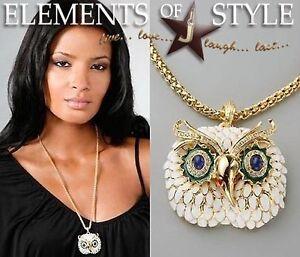Vintage-Kenneth-Jay-Lane-Enamel-Owl-Gold-Necklace