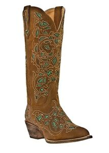 NEW-Ladies-Laredo-Miranda-Brown-with-Blue-Inlay-Leather-Western-Cowboy-Boots