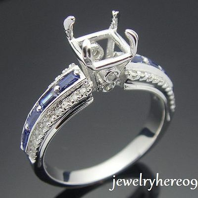 Sterling Silver 925 Sapphire Natural Diamond Engagement/Wedding Semi Mount Ring