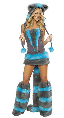 Sexy Furry J Valentine Faux Fur Womens Chester Cat Costume Complete Set