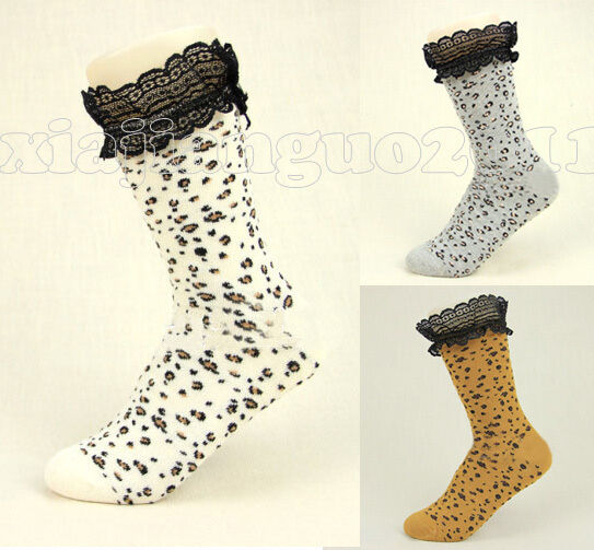 Women Lady Panther Veins leopard Lace Ruffle Frilly Ankle Socks Stockings Hose
