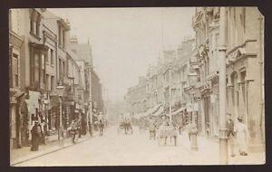 Worcs-STOURBRIDGE-1910-busy-street-scene-RP-PPC-pre-auto-fault