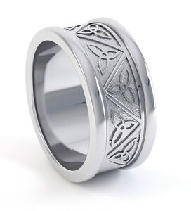 .950 Platinum Irish Handcrafted Celtic Trinity Knot Wedding Anniversary Ring