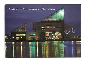Baltimore md inner harbor aquarium night view postcard ebay for Fish store baltimore