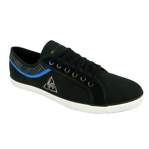 Le-Coq-Sportif-Honfleur-Mens-Cvs-Plaid-Shoes-Lace-Up-Trainers-Black-Blue
