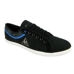 Le-Coq-Sportif-Honfleur-Mens-Cvs-Plaid-Shoes-Lace-Up-Trainers-Black-Blue