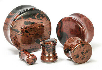 "PAIR Mahogany Obsidian Plugs 6g,4g,2g,0g,00g,7/16"",1/2,9/16,5/8,3/4,7/8,1"""