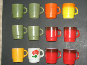 12-Fire-King-Anchor-Hocking-Stacking-Green-Red-Orange-Yellow-Foxy-F-Coffee-Mugs