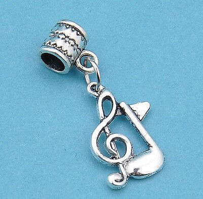 8pcs Tibetan silver dangle pendant musical note beaded fit charm bracelet JP982