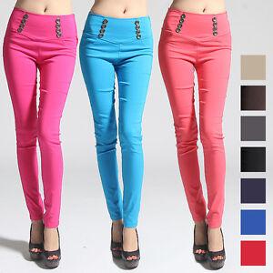 MOGAN-Buttoned-YOKE-High-Waist-Dress-Skinny-Pants-Stretch-Woven-Jegging-Trousers