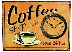 Antique Style Coffee Shop Sign Wall Clock Clocks Sign Signs Kitchen