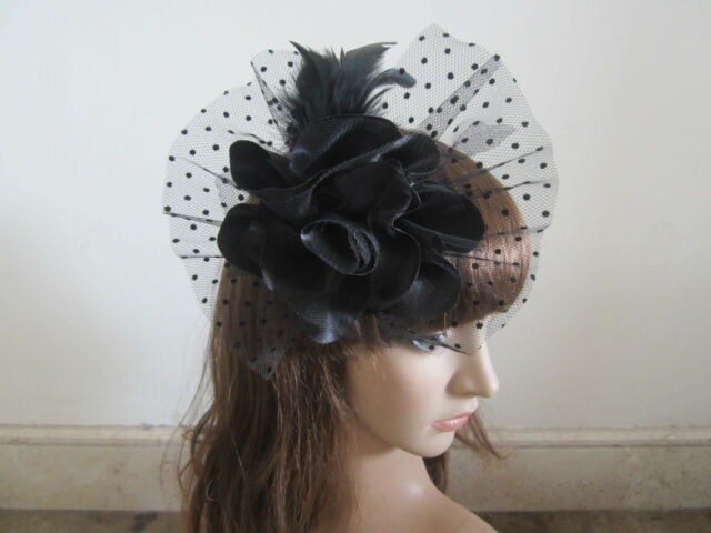Feather Flower Black Corsage Brooch Fascinators Wedding Ladies Races Royal Ascot