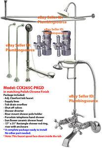 Adj-Tub-Mount-ClawFoot-Tub-Faucet-Supply-Lines-w-Shower-Riser-Enclosure-Chrome